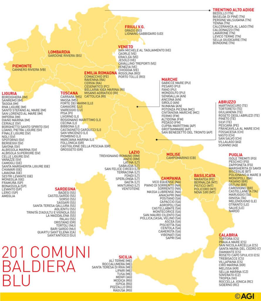 Schema comuni Bandiera Blu - da Agi.it